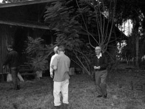 The hunting cabin on Discovery Island with Roy Disney.  Photo from Jim Korkis' private collection